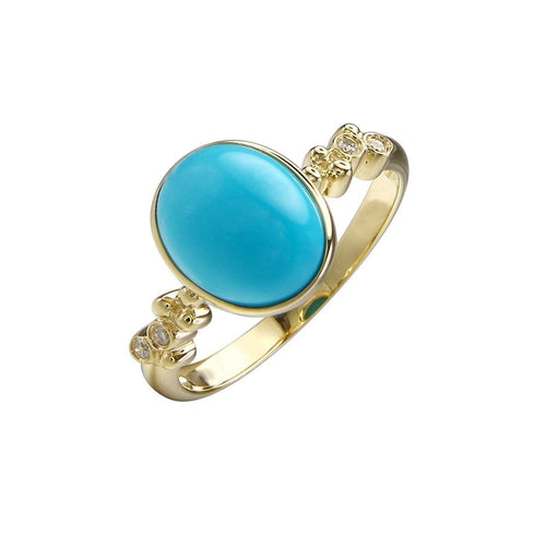 14kt Yellow Gold Diamond And Turquoise Ring ,[product vendor],JewelStreet