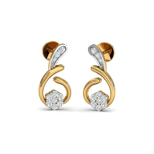 14kt Yellow Gold Nature Inspired Diamond Pave Earrings-Earrings-Diamoire Jewels-JewelStreet