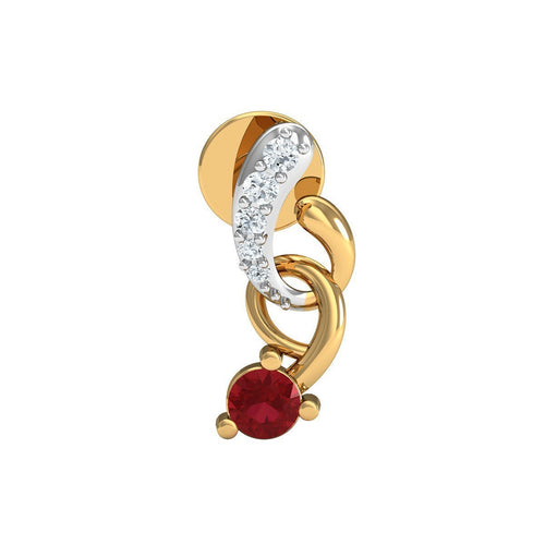 14kt Yellow Gold Pave Earrings with 12 Diamonds and 2 Round Cut Rubies-Earrings-Diamoire Jewels-JewelStreet