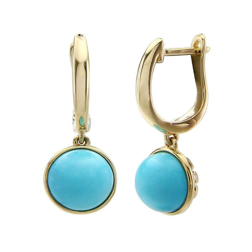 14kt Yellow Gold Turquoise Earring ,[product vendor],JewelStreet