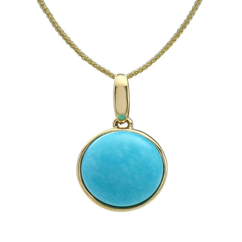 14kt Yellow Gold Turquoise Pendant With Chain ,[product vendor],JewelStreet
