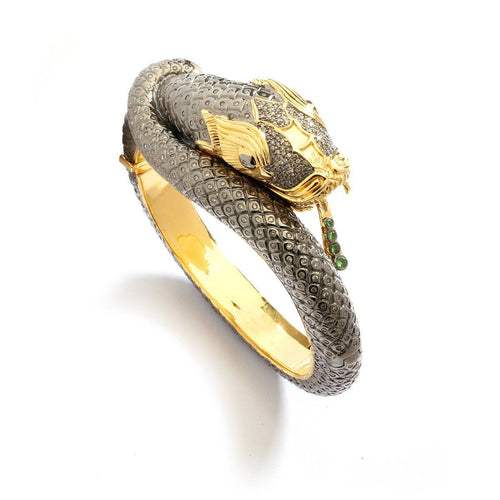 18kt 925 Dragon Snake Cuff With Champagne Diamonds-Bracelets-Syna-JewelStreet