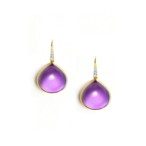 18kt Amethyst Drop Earrings-Earrings-Syna-JewelStreet