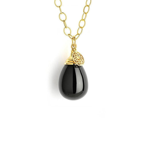 18kt Black Spinel Drop Necklace on 18kt Chain-Necklaces-Syna-JewelStreet