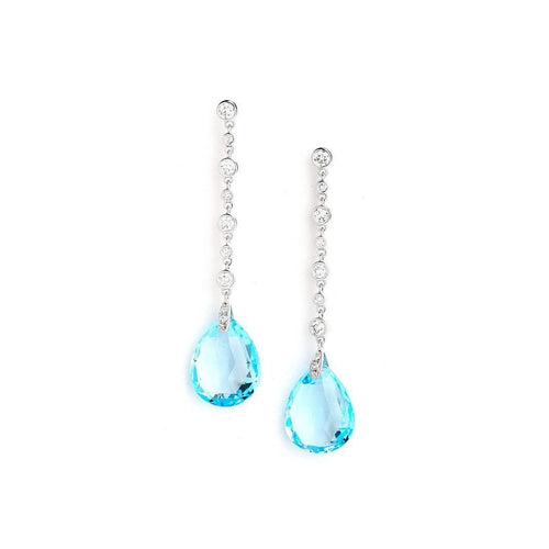 18kt Blue Topaz Earrings With Diamonds-Earrings-Syna-JewelStreet