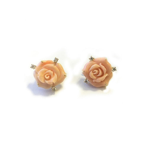 18kt Coral Rose Earrings With Diamonds-Earrings-Syna-JewelStreet