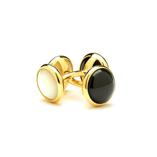 18kt Cufflinks With Mother of Pearl and Black Onyx-Cufflinks-Syna-JewelStreet