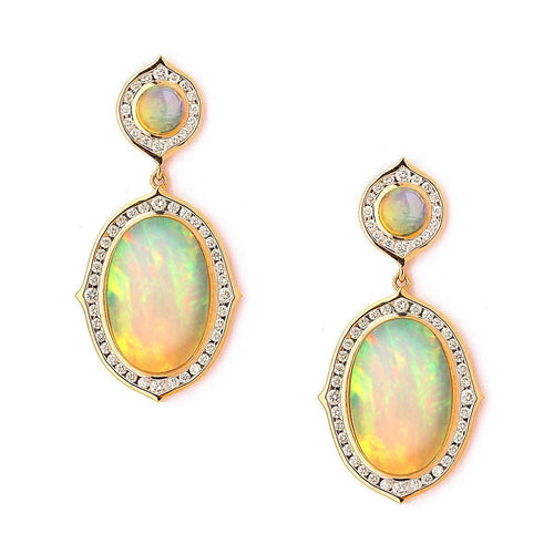 18kt Ethiopian Opal & Diamond Earrings-Earrings-Syna-JewelStreet