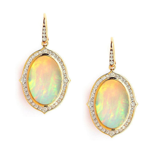 18kt Ethiopian Opal Earrings With Diamonds-Earrings-Syna-JewelStreet