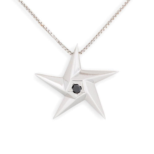 Black Hole Star Black Diamond Pendant-Necklaces-Daou Jewellery-JewelStreet
