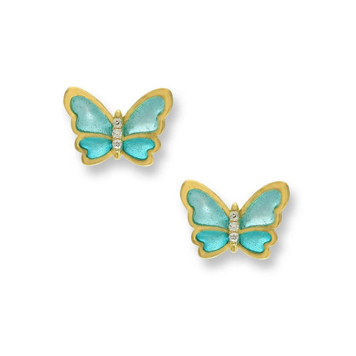 18kt Gold Butterfly Turquoise Stud Earrings-Earrings-Nicole Barr-JewelStreet