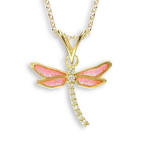 18kt Gold Dragonfly Pink Necklace-Necklaces-Nicole Barr-JewelStreet