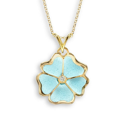 18kt Gold Flower Turquoise Necklace-Necklaces-Nicole Barr-JewelStreet