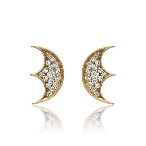 18kt Gold Moon Motif Studs-Earrings-Anahita Jewelry-JewelStreet