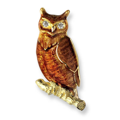 18kt Gold Owl Brown Brooch-Brooches-Nicole Barr-JewelStreet