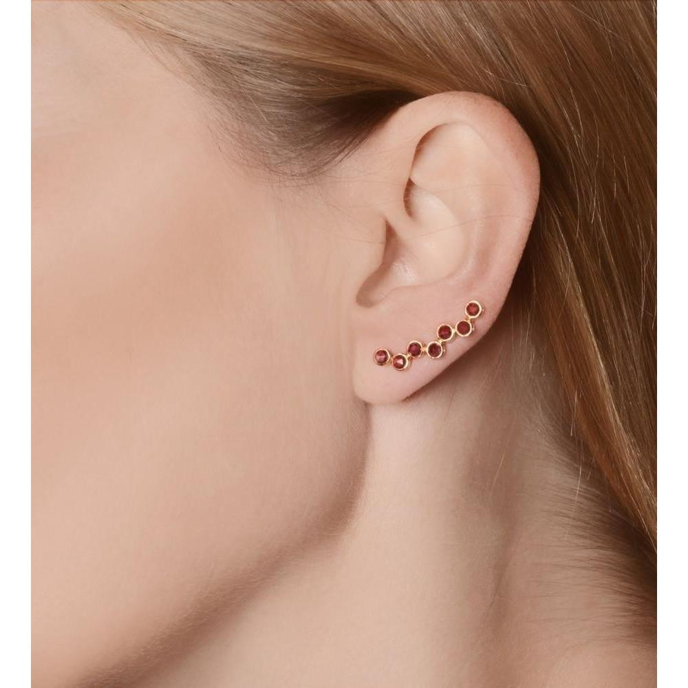 18kt Gold Pink Garnet Ear Cuff Left-Earrings-Perle de Lune-JewelStreet