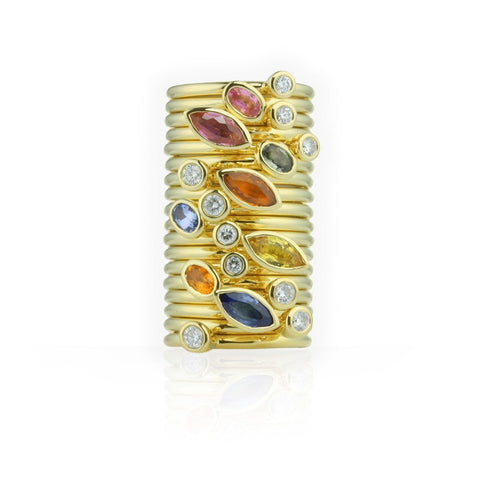 18kt Gold Set of Three Diamond & Sapphire Stacking Rings-Rings-Prism Design-JewelStreet