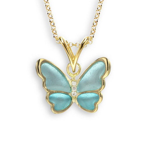 18kt Gold Turquoise Butterfly Necklace-Necklaces-Nicole Barr-JewelStreet