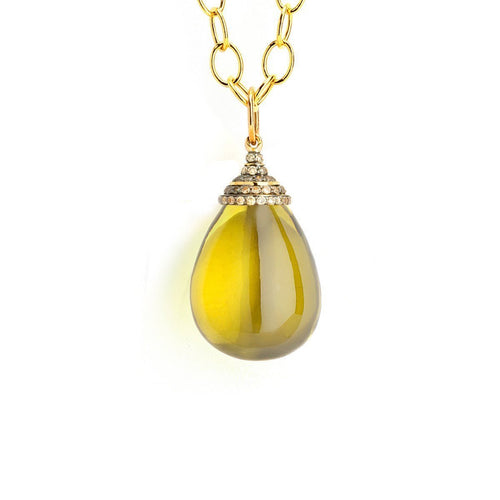 18kt Lemon Quartz Drop With Champagne Diamonds-Necklaces-Syna-JewelStreet