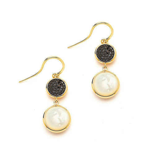 18kt Mother of Pearl & Black Diamond Earrings-Earrings-Syna-JewelStreet