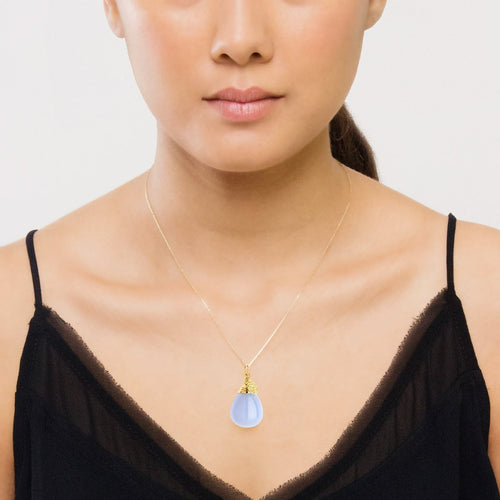 18kt Natural Blue Chalcedony Drop Necklace With 18kt Chain-Necklaces-Syna-JewelStreet