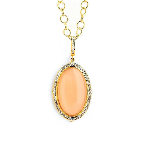 18kt Peach Moonstone Necklace With Champagne Diamonds-Necklaces-Syna-JewelStreet
