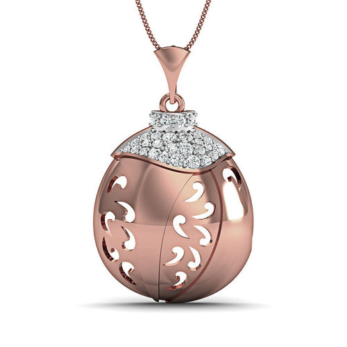 18kt Rose Gold Nature Inspired Round Cut Diamond Pave Pendant-Necklaces-Diamoire Jewels-JewelStreet