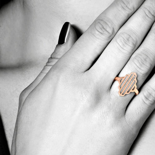 High Line Collection Geometric Ring Rose Gold Plated ,[product vendor],JewelStreet