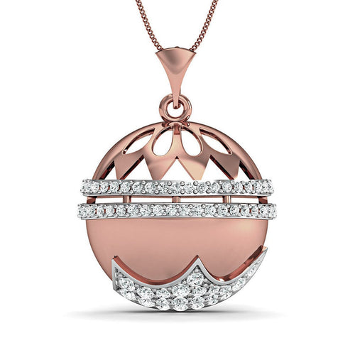 18kt Rose Gold with Premium Diamonds in Pave Setting-Necklaces-Diamoire Jewels-JewelStreet