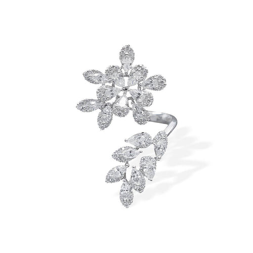 18kt White Gold & Diamond Floral Twist Ring ,[product vendor],JewelStreet