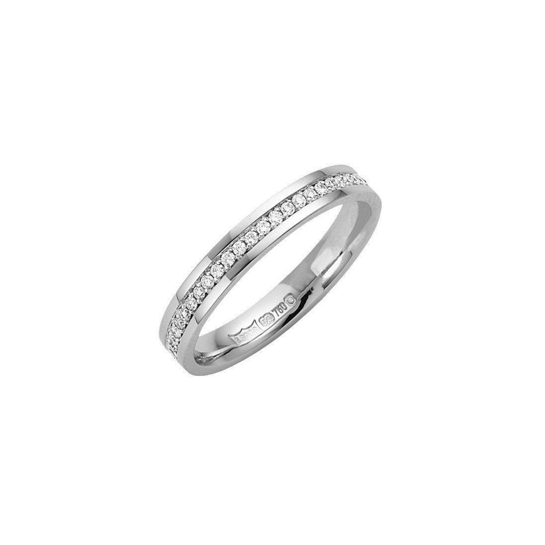 18kt White Gold 3mm Diamond Eternity Wedding Ring-Rings-Star Wedding Rings-JewelStreet