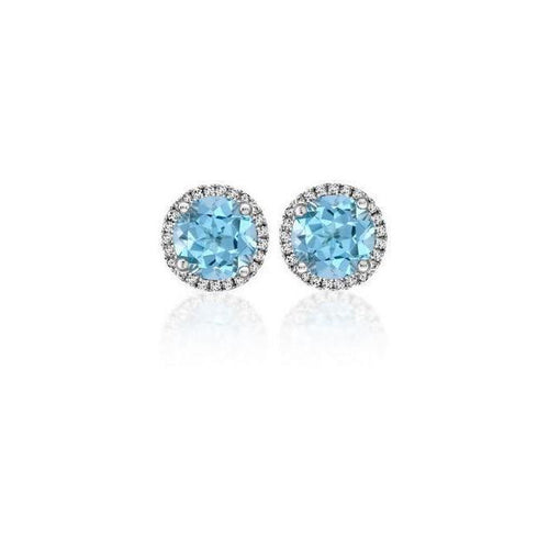18kt White Gold Aquamarine and Diamond Earrings-Earrings-Soley London-JewelStreet