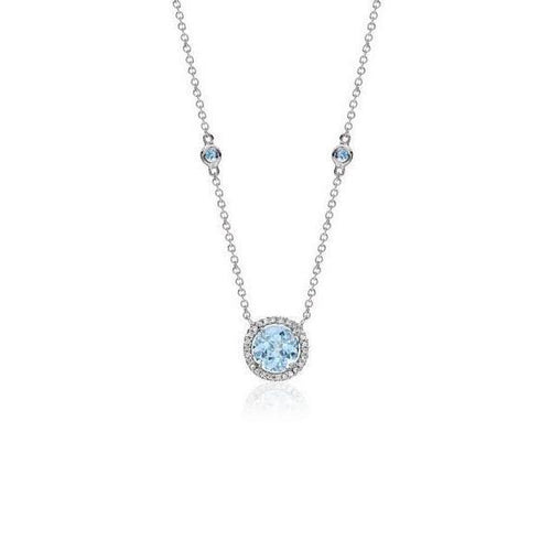 18kt White Gold Aquamarine and Diamond Pendant-Necklaces-Soley London-JewelStreet