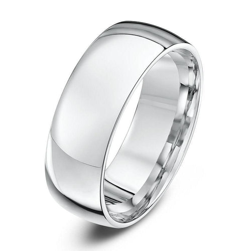 18kt White Gold Court-Shape Wedding Ring (Available In Various Widths)-Rings-Star Wedding Rings-JewelStreet