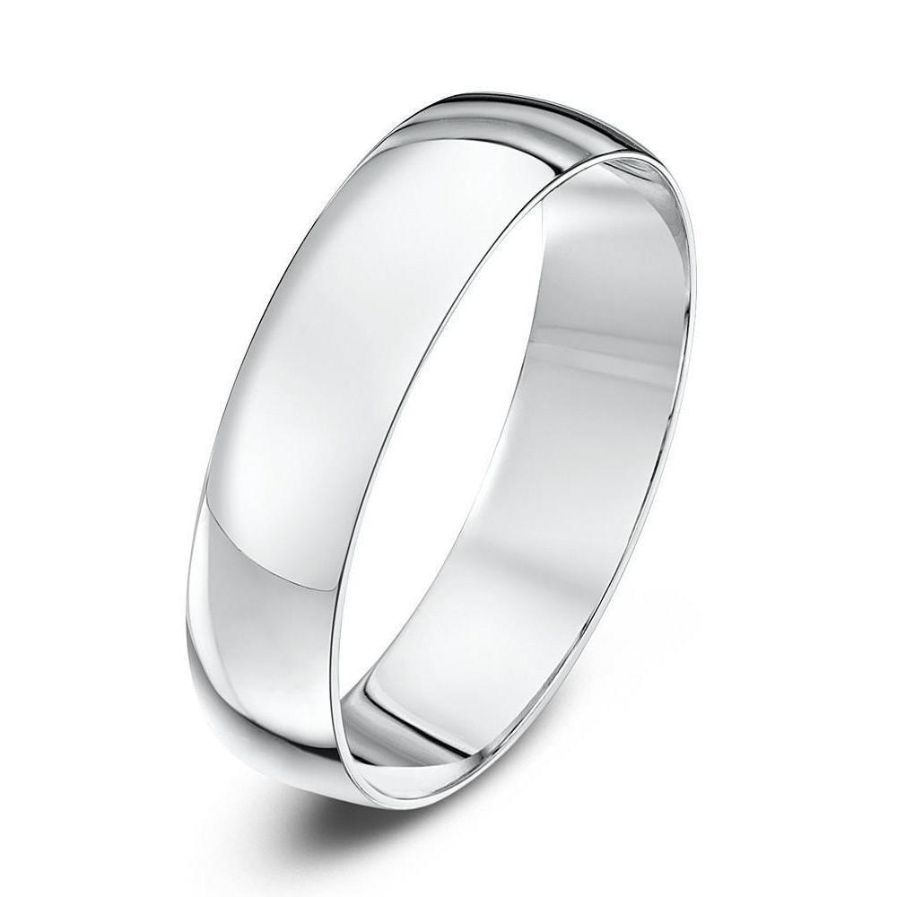 18kt White Gold D-Shape Wedding Ring (Available In Various Widths)-Rings-Star Wedding Rings-JewelStreet