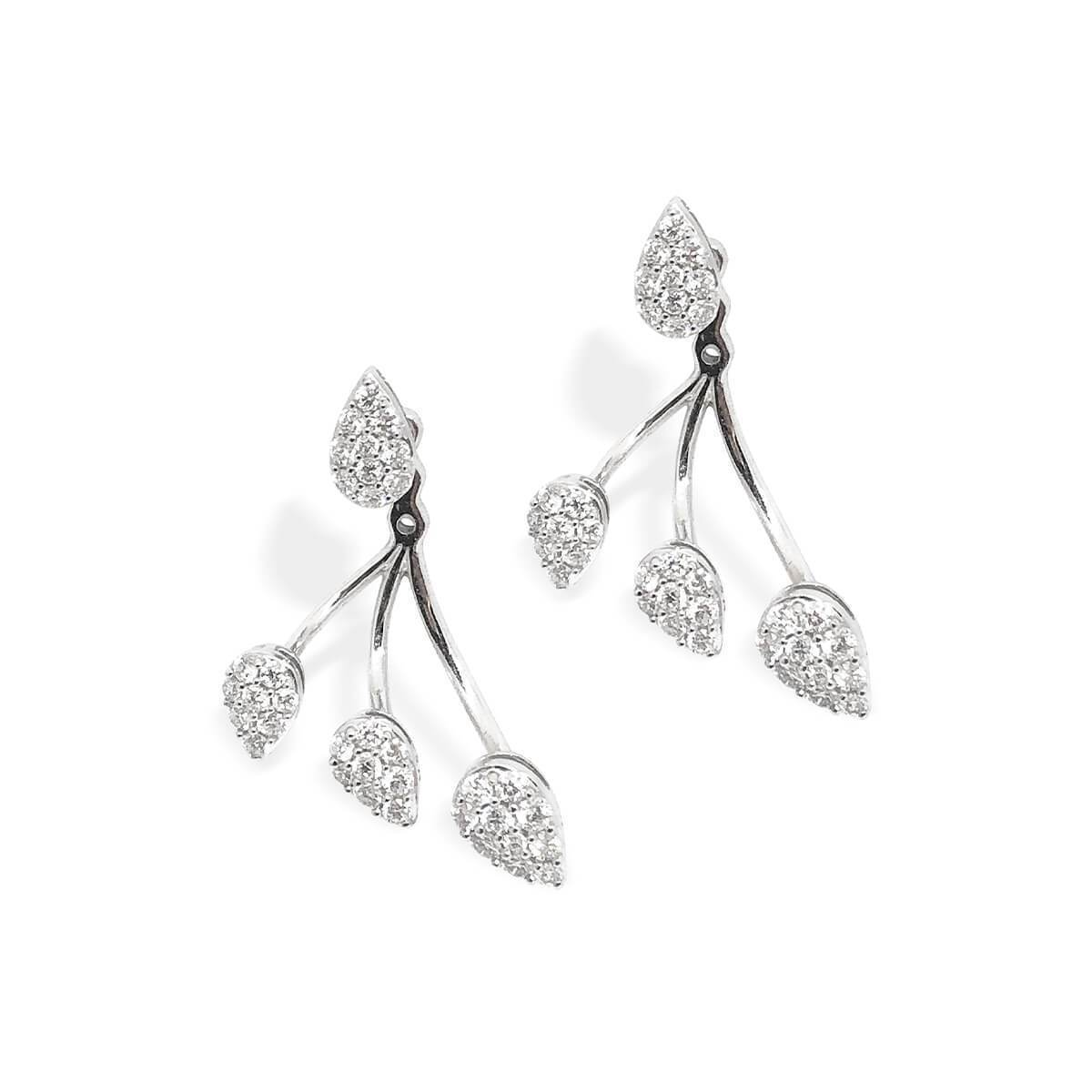 18kt White Gold Drop Cluster Diamond Ear Jackets