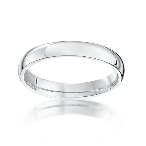 18kt White Gold Extra Heavy Court-Shape Wedding Ring (Available In Various Widths)-Rings-Star Wedding Rings-JewelStreet