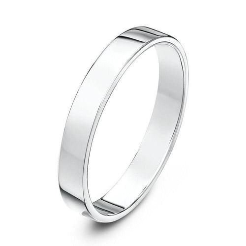 18kt White Gold Flat Court-Shape Wedding Ring (Available In Various Widths)-Rings-Star Wedding Rings-JewelStreet
