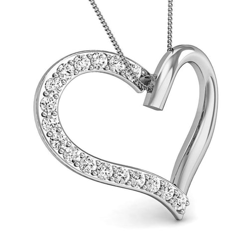 18kt White Gold Heart Pendant with Premium Quality Diamonds-Necklaces-Diamoire Jewels-JewelStreet