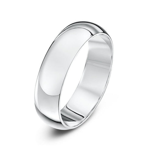 18kt White Gold Heavy D-Shape Wedding Ring (Available In Various Widths)-Rings-Star Wedding Rings-JewelStreet
