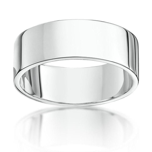 18kt White Gold Heavy Flat Wedding Ring (Available In Various Widths)-Rings-Star Wedding Rings-JewelStreet