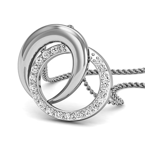 18kt White Gold Pave Pendant Handmade with Premium Quality Diamonds-Necklaces-Diamoire Jewels-JewelStreet