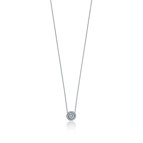 18kt White Gold Swirl Diamond Pendant-Necklaces-Soley London-JewelStreet