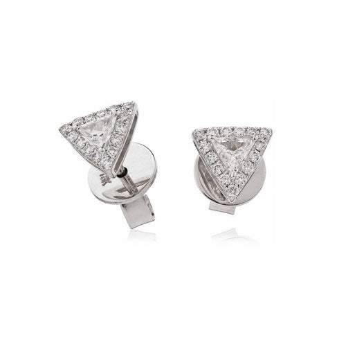 18kt White Gold Triangle Diamond Studs-Earrings-Loushelou-JewelStreet