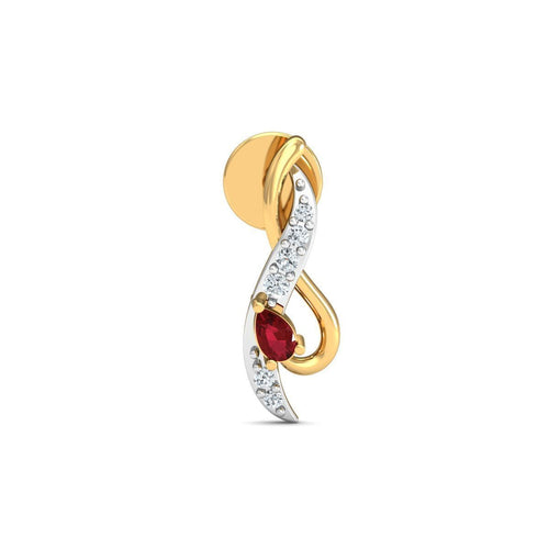 18kt Yellow Gold 0.05ct Pave Diamond Infinity Earrings With Ruby ,[product vendor],JewelStreet