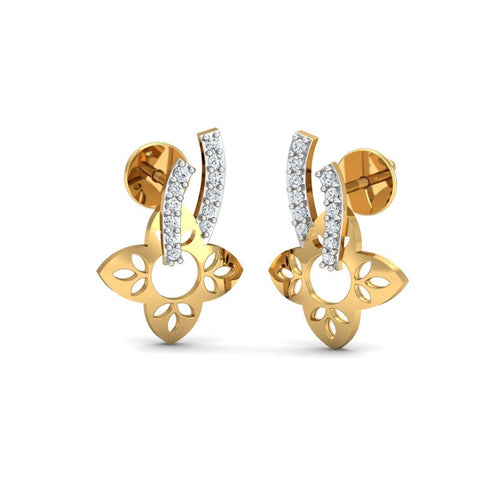 18kt Yellow Gold 0.08ct Pave Diamond Infinity Earrings I ,[product vendor],JewelStreet