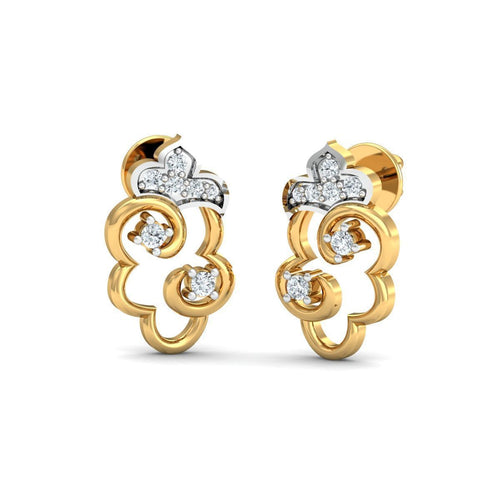 18kt Yellow Gold 0.11ct Pave Diamond Infinity Earrings II ,[product vendor],JewelStreet