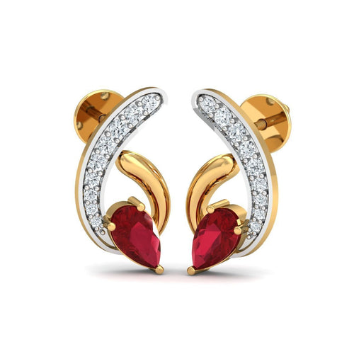 18kt Yellow Gold 0.13ct Pave Diamond Infinity Earrings With Ruby I ,[product vendor],JewelStreet