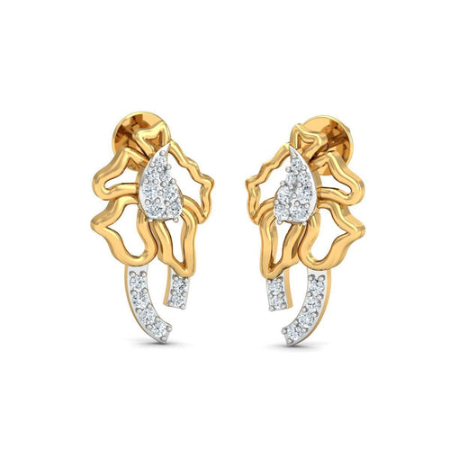 18kt Yellow Gold 0.15ct Pave Diamond Infinity Earrings I ,[product vendor],JewelStreet