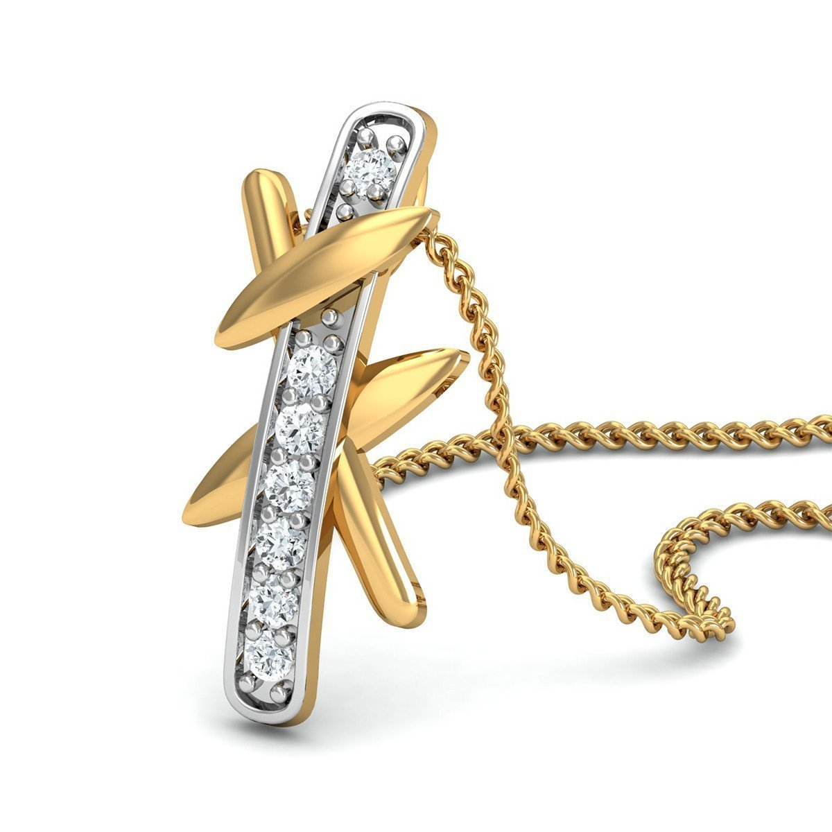 18kt Yellow Gold and Diamond Pendant in a Pave Setting-Necklaces-Diamoire Jewels-JewelStreet